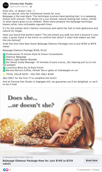 Chroma's Facebook ad