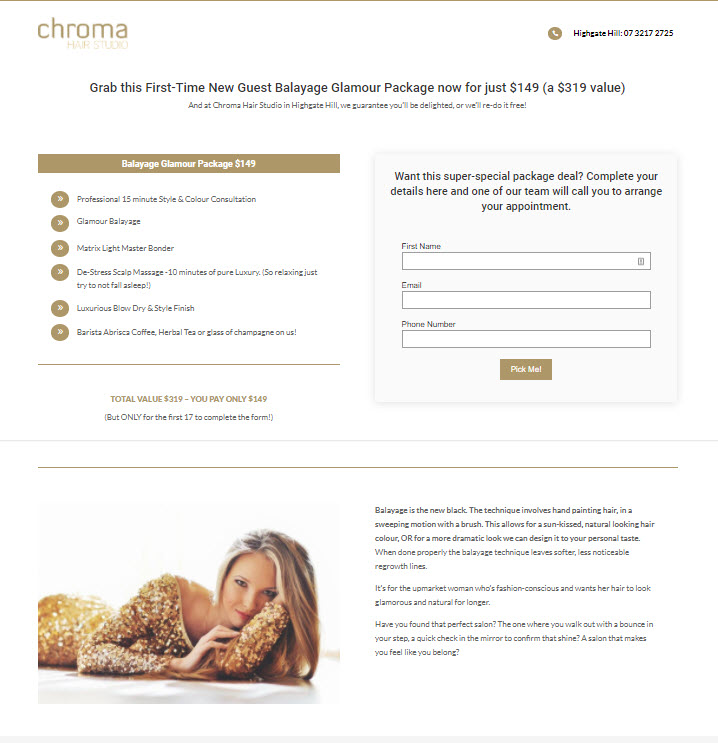 Chroma's hair salon landing page